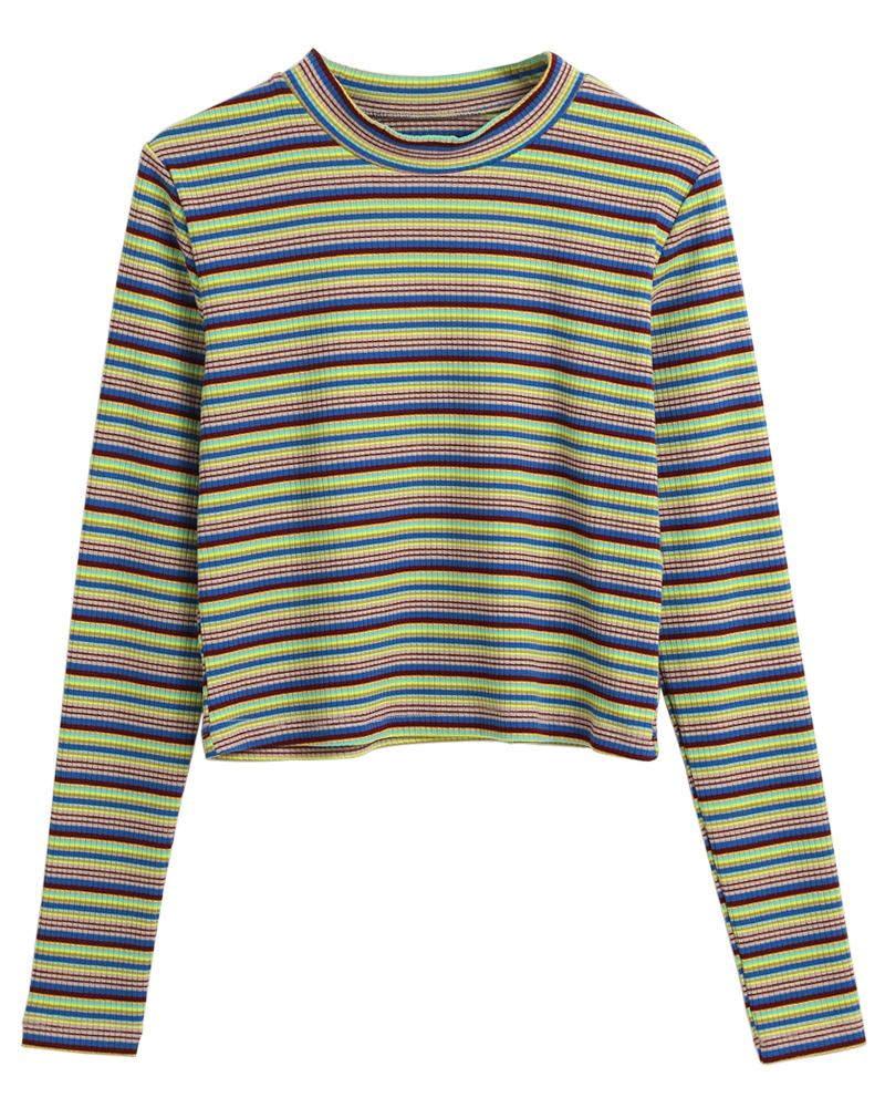 Longsleeved 90s style Striped Crop Top - Ice Cream Cake