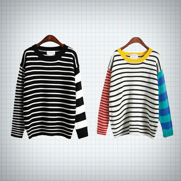 Multipattern Stripe Knit Jumper (2 designs) - Ice Cream Cake