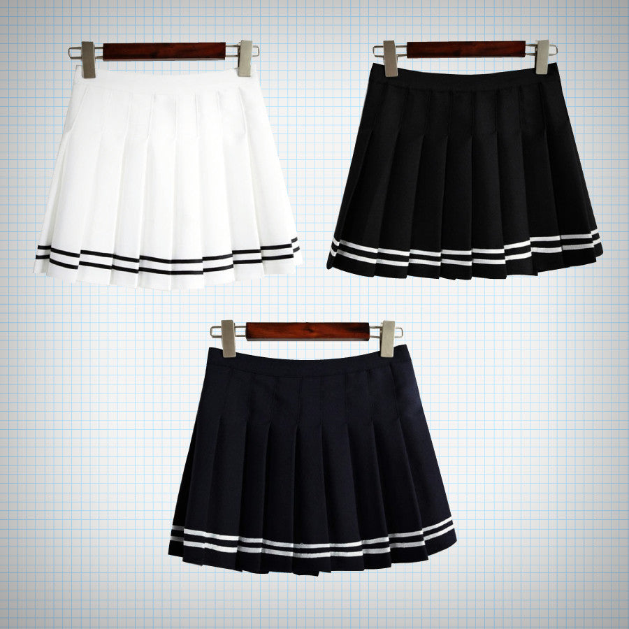 Contrast Stripe Pleat Skirt (3 Colours) - Ice Cream Cake
