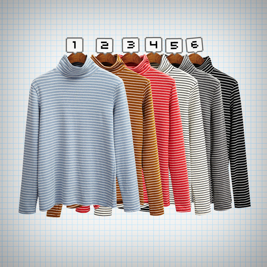 Long Sleeved Stripe Turtleneck Top (6 colours) - Ice Cream Cake