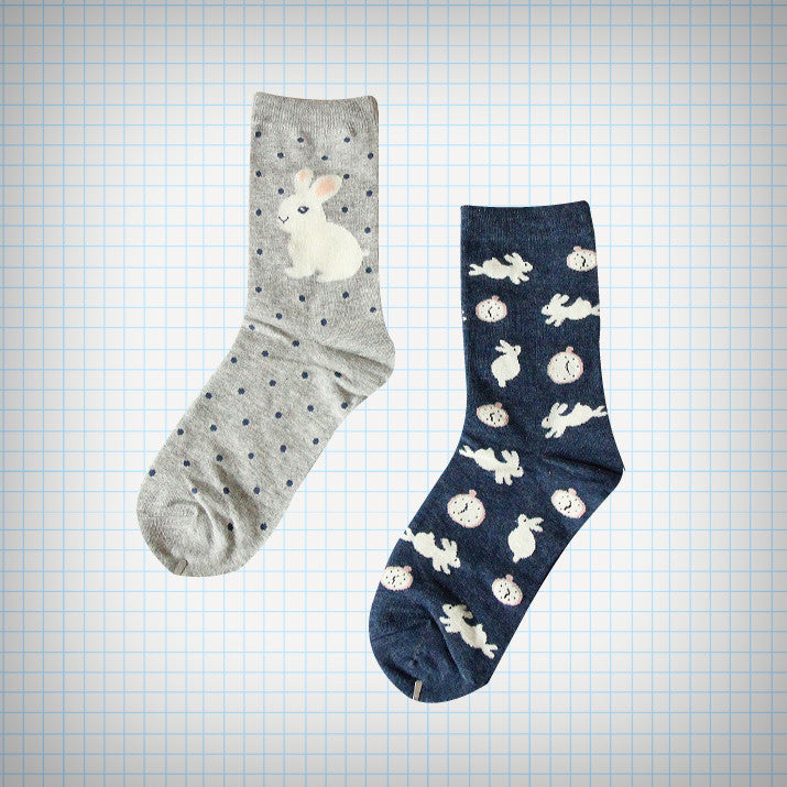 White Rabbit and Watches Ankle Sock Set (2 pairs) - Ice Cream Cake
