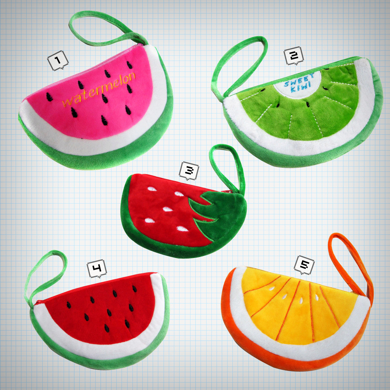Plush Fruit Wristlet Pouches - Ice Cream Cake