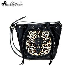 GENUINE LEATHER DRAWSTRING ANIMAL PRINT CROSSBODY HANDBAG - Wildfire and Lace