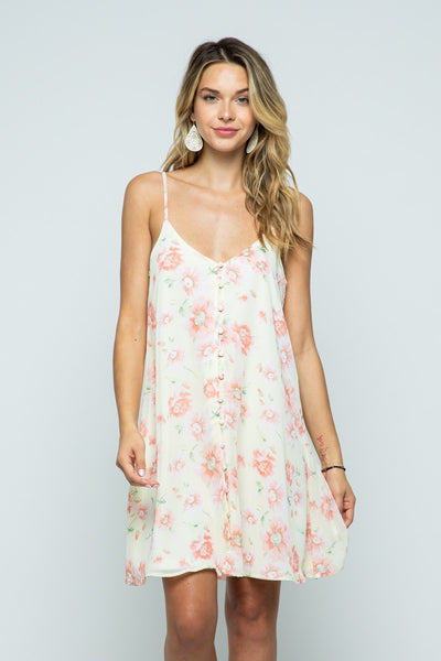 CHIFFON FLORAL PRINT BUTTON UP MINI DRESS - Wildfire and Lace