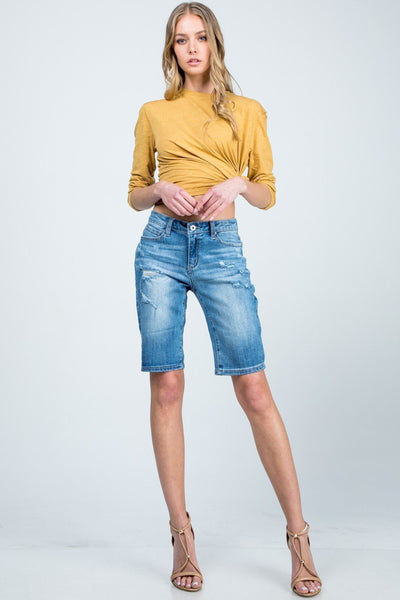 MID RISE BERMUDA DENIM SHORTS - Wildfire and Lace