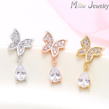 925 Sterling Silver Crystal Stud Earrings Rose Gold/Silver/Gold