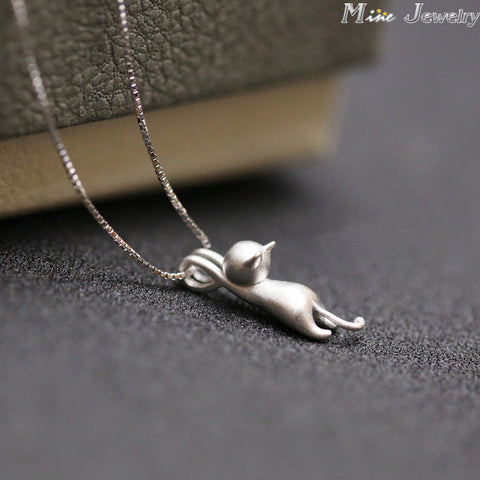3D 925 Sterling Silver Cats Pendants Necklace