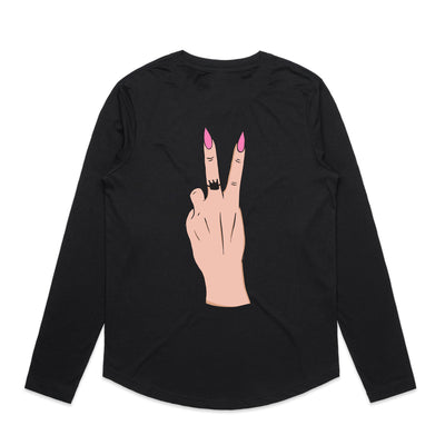 'Mostly Peace and Love with a little Go F Yourself' Curved Hem Long-sleeve Tee