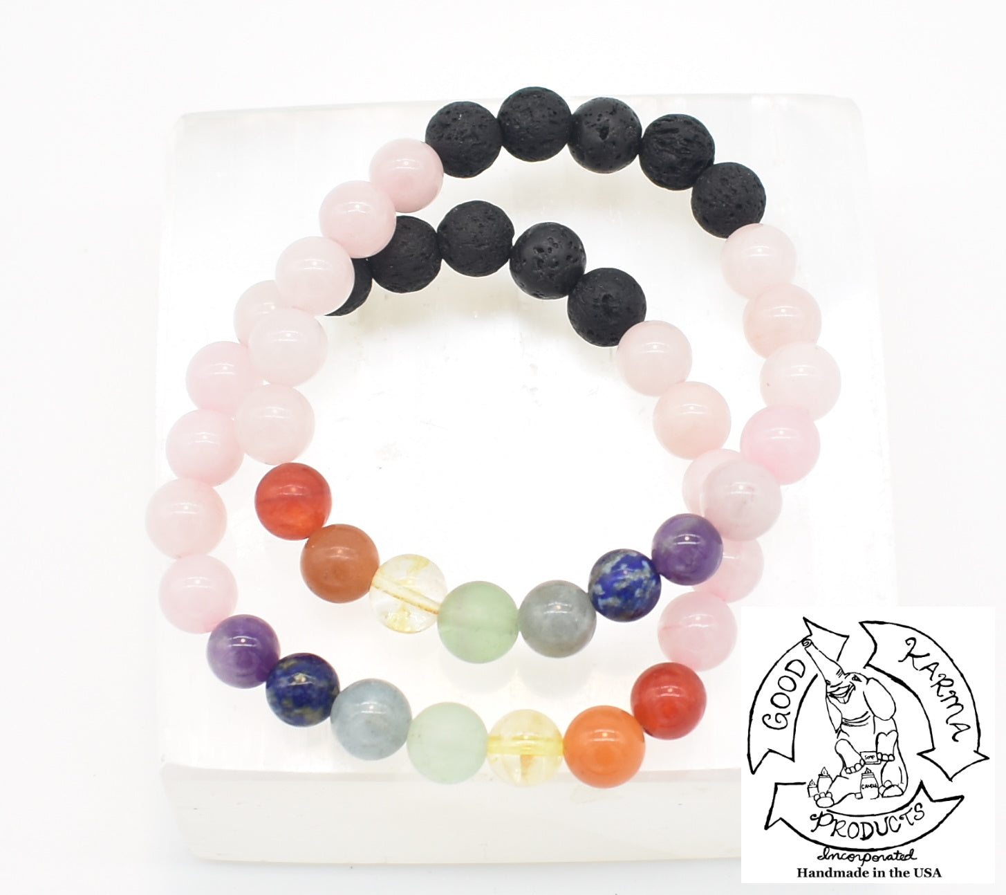 Rose Quartz, Chakra, and Lava Stone Diffuser Bracelet