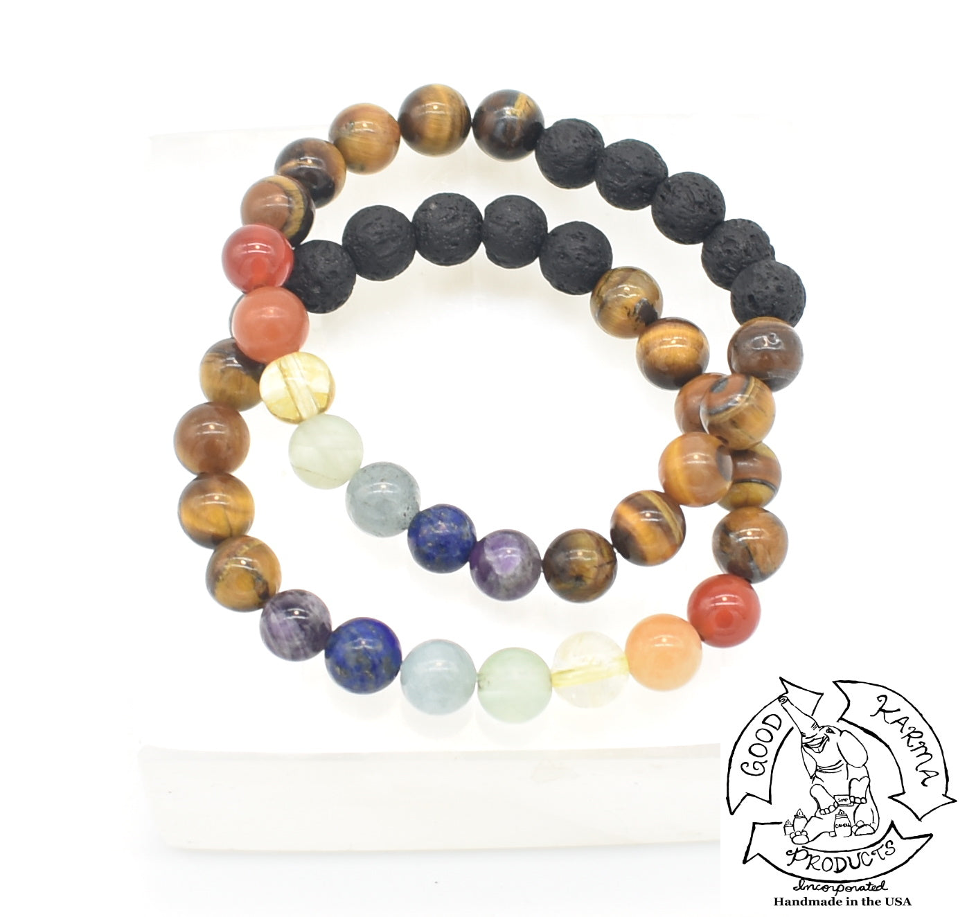 Tiger Eye, Chakra, and Lava Stone Diffuser Bracelet