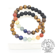 Load image into Gallery viewer, Tiger Eye, Chakra, and Lava Stone Diffuser Bracelet