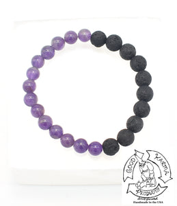 """Healing Diffuser"" - Amethyst and Lava Stone Diffuser Bracelet"