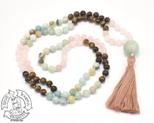 "Load image into Gallery viewer, ""Soothing Love Tiger"" - Rose Quartz, Tiger Eye, and Amazonite 108 Stone Mala"