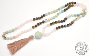 """Soothing Love Tiger"" - Rose Quartz, Tiger Eye, and Amazonite 108 Stone Mala"