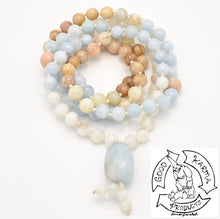 "Load image into Gallery viewer, ""Peach Moon Tides"" - Aquamarine, Moonstone, and Peach Moonstone 108 Stone Mala"