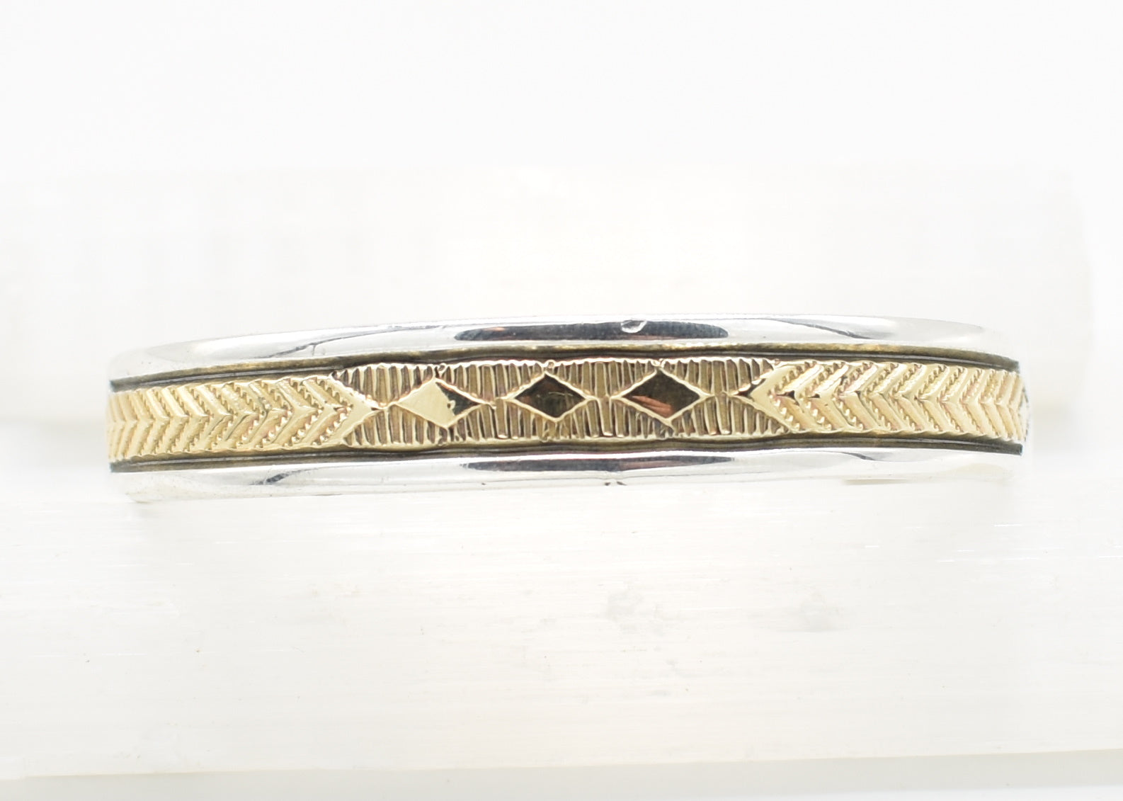 Bruce Morgan 14k Gold and Sterling Silver Native American Navajo Cuff Bracelet