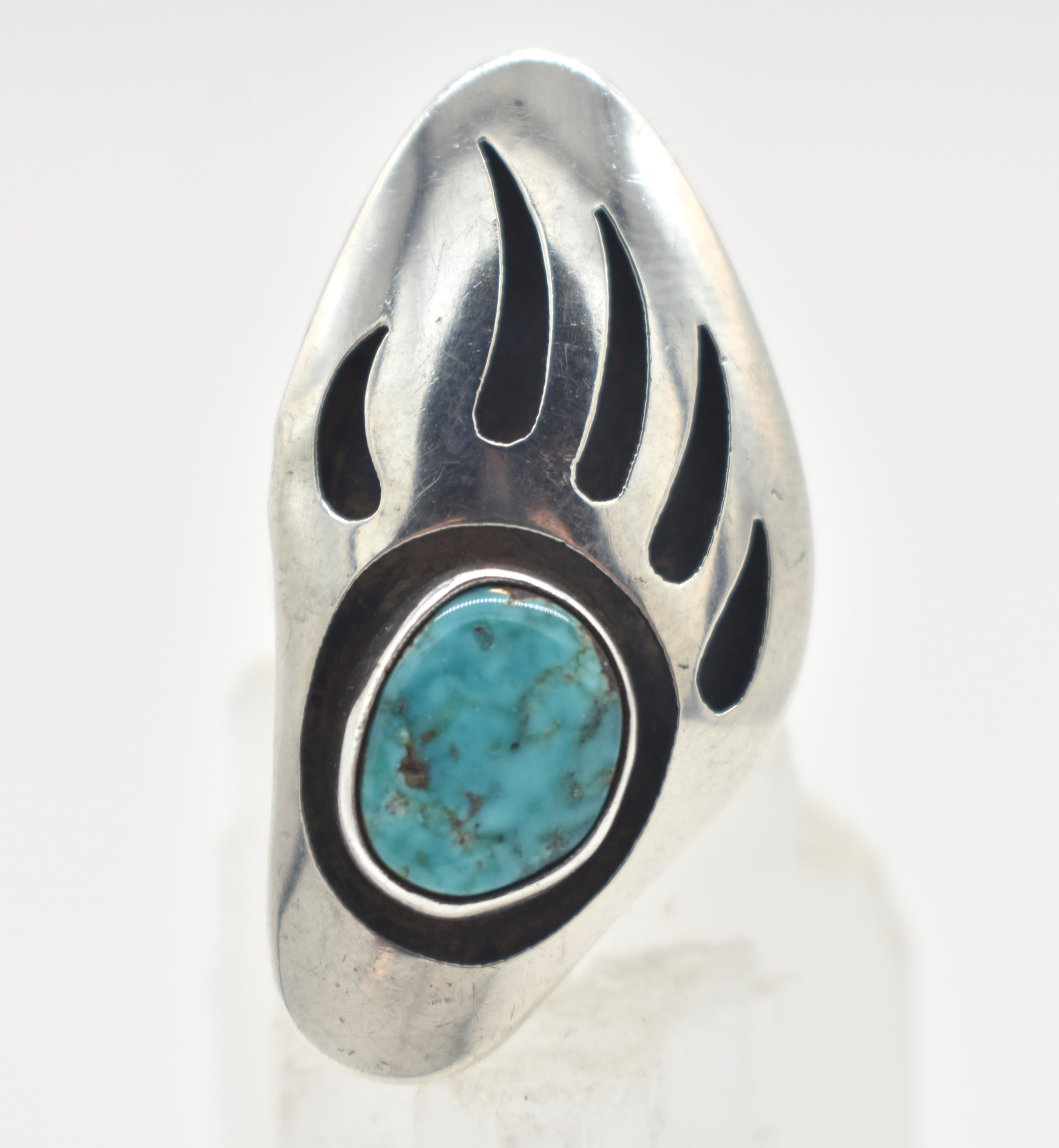 Bear Paw Turquoise and Sterling Silver Southwest Style Shadow Box Ring - Size 5.5