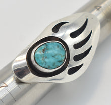 Load image into Gallery viewer, Bear Paw Turquoise and Sterling Silver Southwest Style Shadow Box Ring - Size 5.5