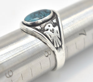 Bell Trading Turquoise and Sterling Silver Thunderbird Ring - Size 7 3/4