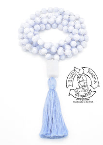 """Uplifting Truth""- Blue Lace Agate Handmade 108 Stone Mala"