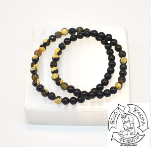 """Transitioning Shield"" - Bumblebee Jasper and Onyx Stone Bracelet"