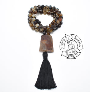 Brown Banded Agate Handmade Mala with 108 Stone Beads