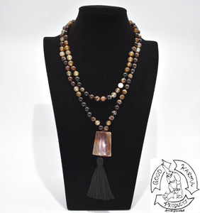 Mala Handmade in the USA with 108 Brown Banded Agate Stone Beads