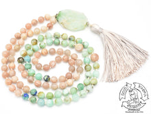 "Load image into Gallery viewer, ""Easing Love"" - Chrysoprase, Chrysocolla and Peach Moonstone Handmade 108 Stone Mala"