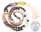 """Enhancing Aura"" - Citrine, Rainbow Tourmaline, Muscovite, Golden Obsidian, and Moonstone Handmade 108 Stone Mala"