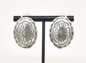 Vintage Sterling Silver Concho Southwest Earrings