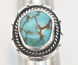 "Turquoise and Sterling Silver Signed ""D.W.A"" Southwest Style Ring - Size 8"