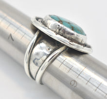 "Load image into Gallery viewer, Turquoise and Sterling Silver Signed ""D.W.A"" Southwest Style Ring - Size 8"