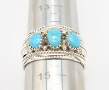 Load image into Gallery viewer, Dine Begaye Signed Turquoise and Sterling Silver Native American Ring - Size 14.5