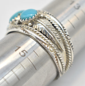 Dine Begaye Signed Turquoise and Sterling Silver Native American Ring - Size 14.5