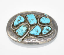 Load image into Gallery viewer, Effie Calavaza, hallmark EFFIE C ZUNI, Native American Sterling Silver and Turquoise Belt Buckle