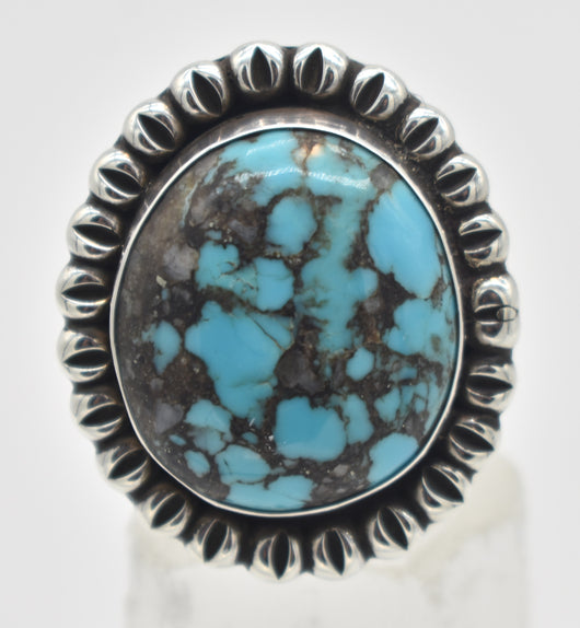 Ernest Wood Navajo Sterling Silver Turquoise Statement Ring - Size 13