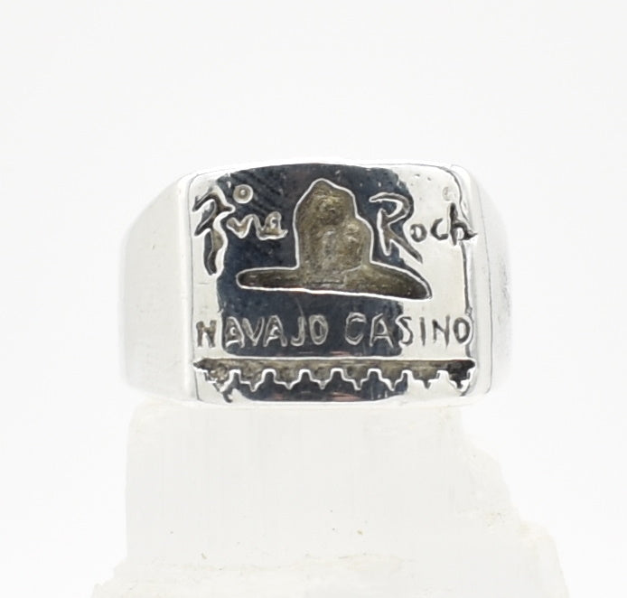 Fire Rock Casino T Stamped Sterling Silver Men's Ring - Size 9.25