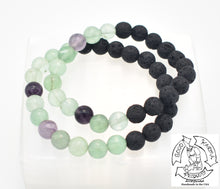 "Load image into Gallery viewer, ""Thinking Diffuser"" - Fluorite and Lava Stone Bracelet"