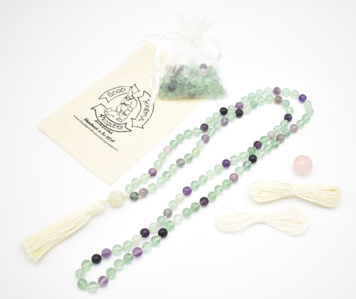 Example of Fluorite Mala produced from Good Karma Products Mala Kit which is also Pictured
