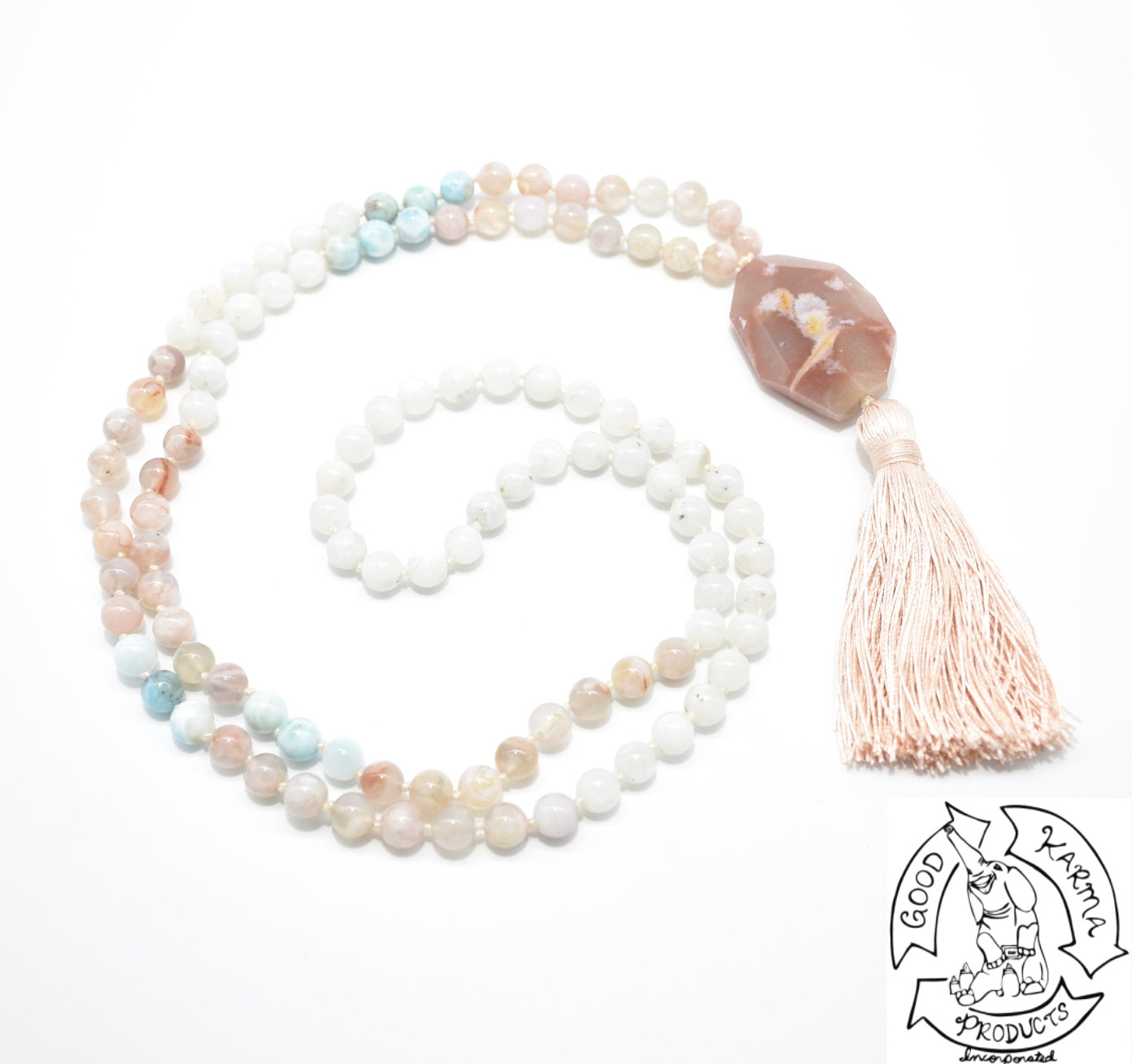 Flower Agate, Larimar, and Moonstone Handmade Mala