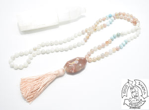 Mala Handmade with Flower Agate, Larimar, and Moonstone