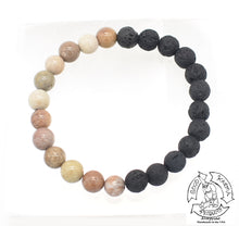 Load image into Gallery viewer, Lava Stone and Fossil Stone Bracelet