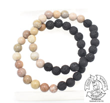 Load image into Gallery viewer, Fossil Stone and Lava Stone Bracelet