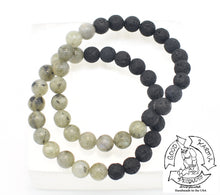 "Load image into Gallery viewer, ""Awakening Diffuser"" - Green Labradorite and Lava Stone Bracelet"