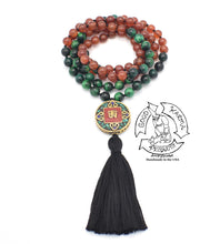 "Load image into Gallery viewer, ""Infinite Motivation"" - Green Tiger Eye and Carnelian Handmade 108 Stone Mala"