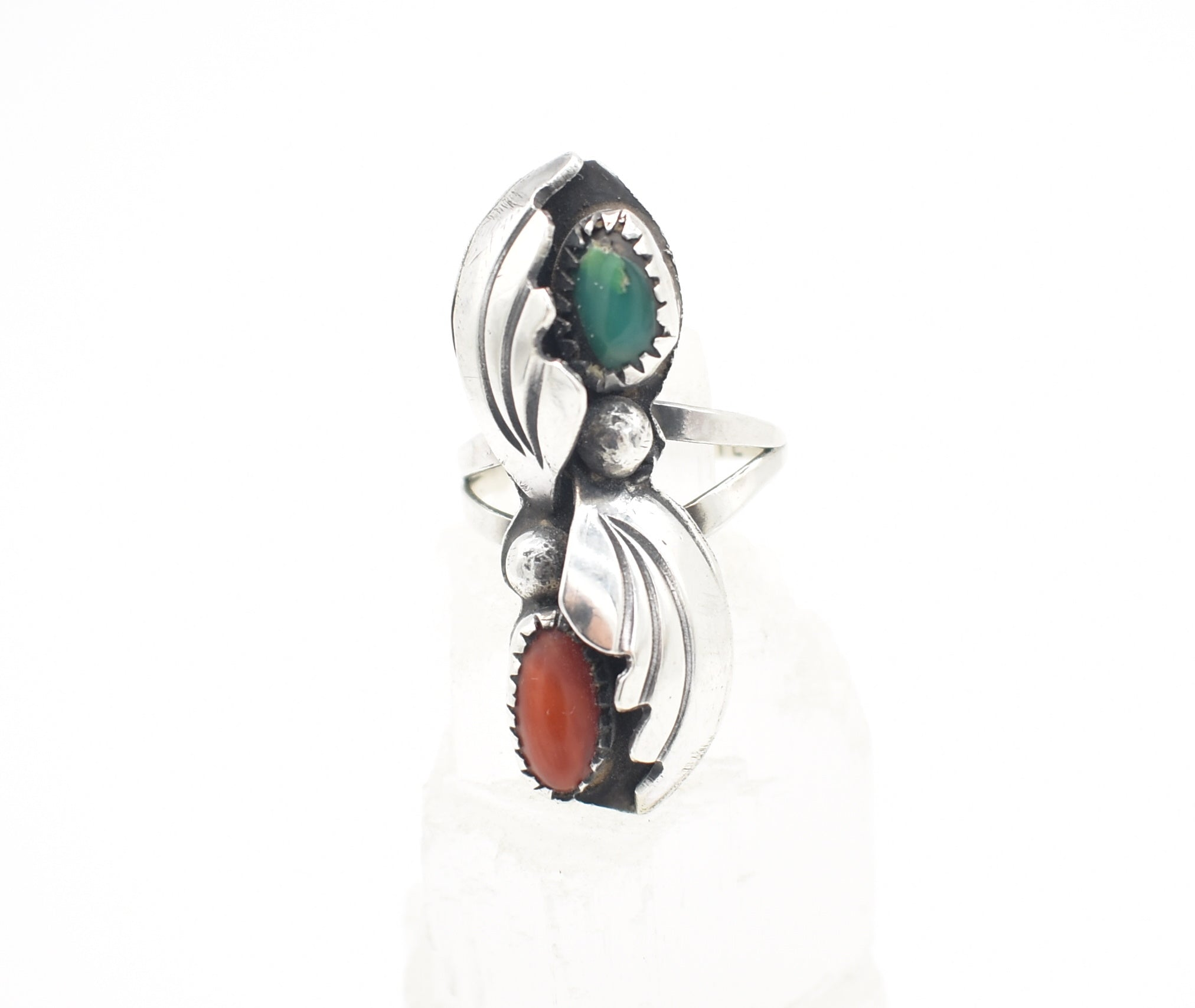 Mary E. Tstosie, Navajo, Native American Turquoise and Red Coral Sterling Silver Ring - Size 6