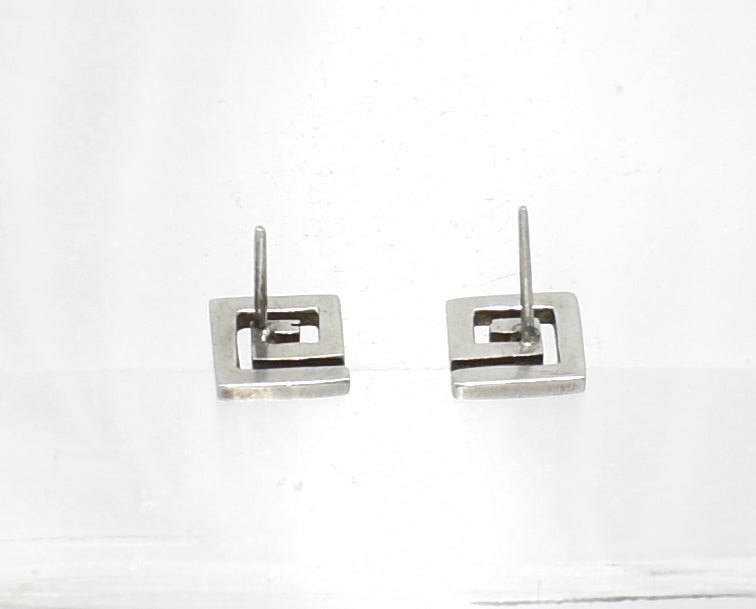 Vintage Fret Sterling Silver Stud Earrings