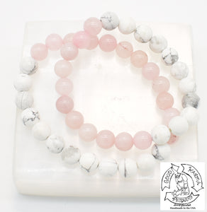 """Calming Love"" - Howlite and Rose Quartz Stone Bracelet"