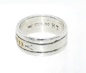 Herbert Tsosie Native American Navajo Sterling Silver and Gold Ring - Size 8.25