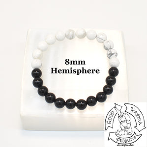 """Calming Shield"" - Howlite and Onyx Stone Bracelet"